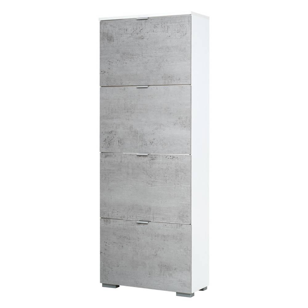 Botník GRAZ 4 výklopy biela/svetlý betón