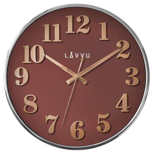 LAVVU LCT1163 - Červené hodiny Home Red s dreveným dekorom
