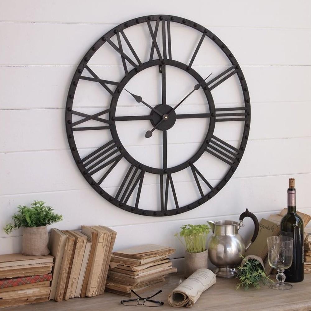 Nástenné hodiny Industrial Rusty Black, 70 cm