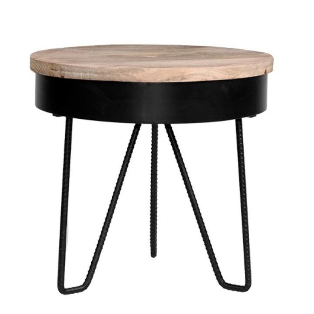 Čierny príručný stolík s drevenou doskou LABEL51 Saran