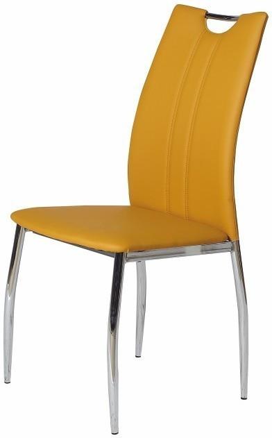 Jedálenská stolička, chróm/ekokoža žltá kari, OLIVA