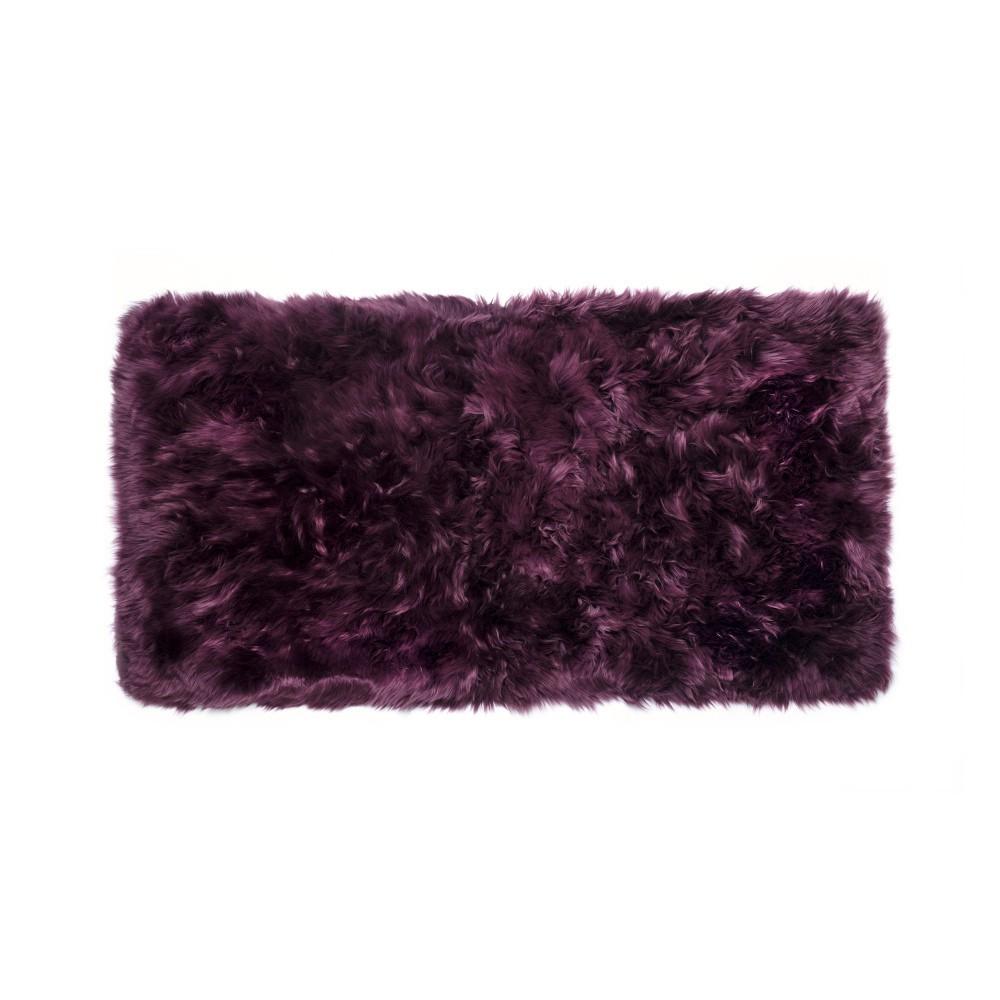 Tmavovínový obdĺžnikový koberec z ovčej vlny Royal Dream Zealand, 140×70cm