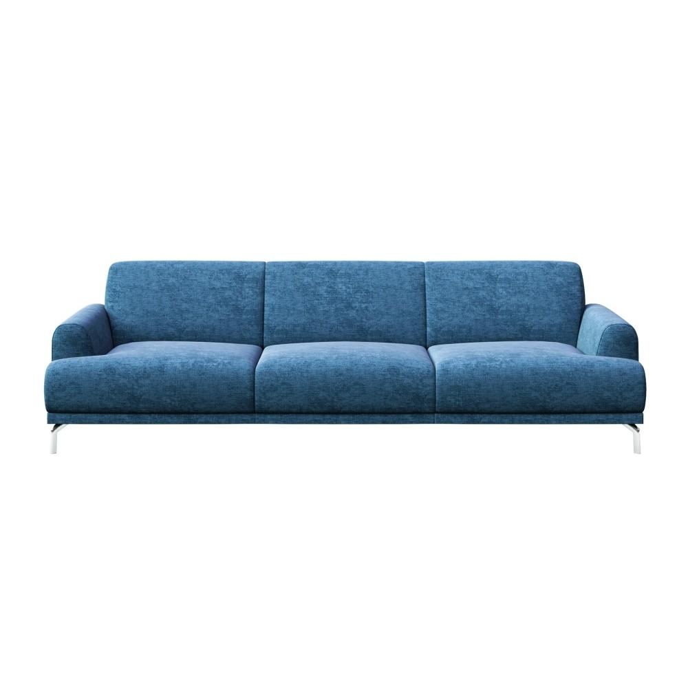 Modrá trojmiestna pohovka s kovovými nohami MESONICA Puzo