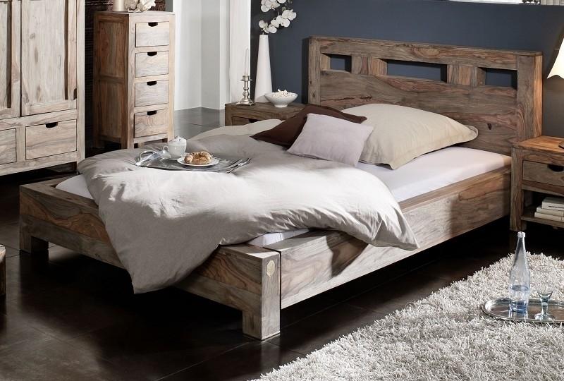 NATURE GREY #203 Sheesham posteľ 140x200, masívne palisandrové drevo