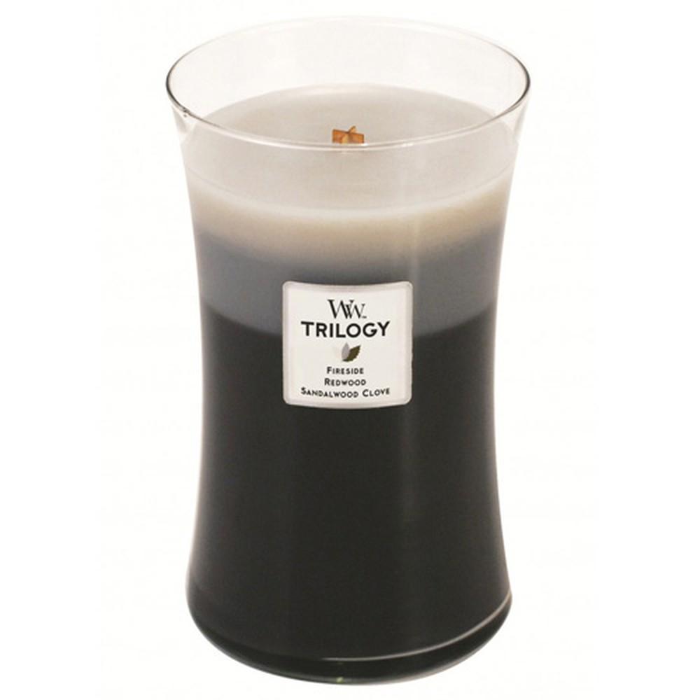 Vonná sviečka WoodWick Trilogy Hrejivé drevo, 130 hodín