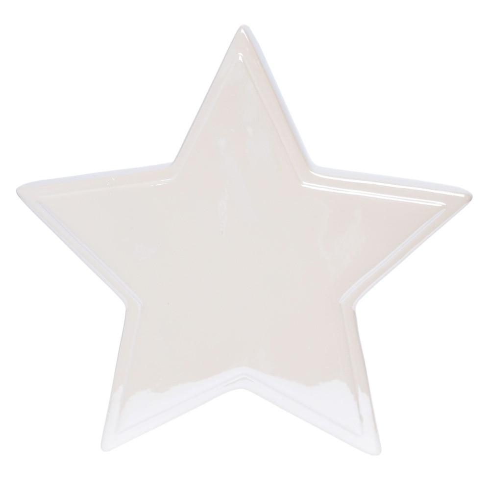 Biela keramická dekorácia Ewax Estrella, dĺžka 17,5 cm