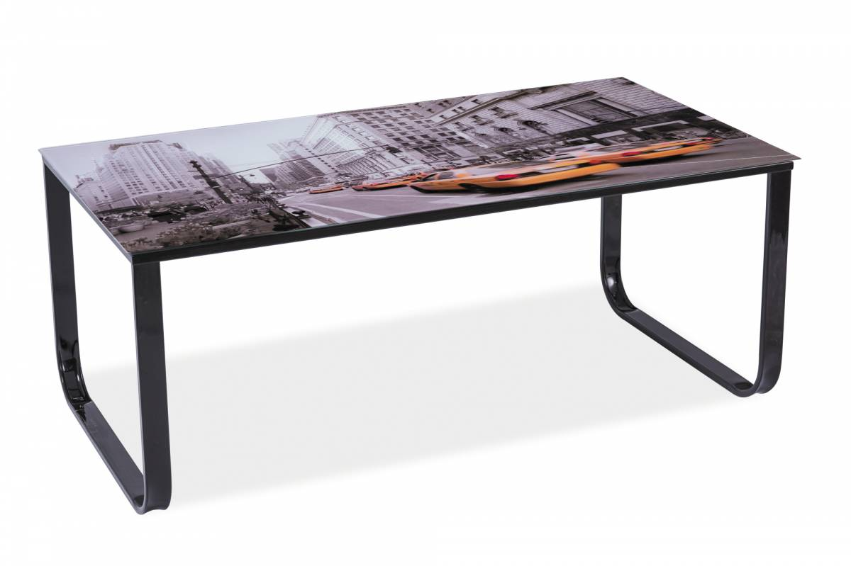 Konferenčný stolík Taxi II (čierna + grafika New York)