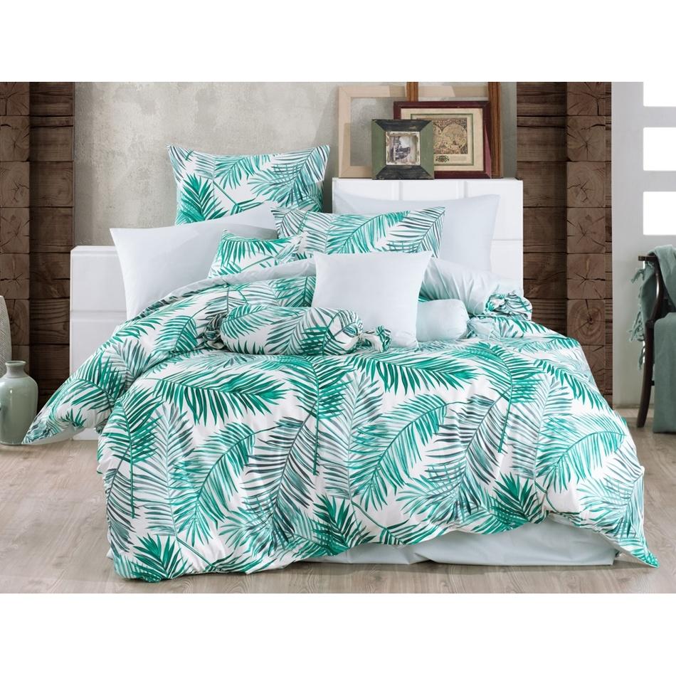 BedTex Bavlnené obliečky Palms Green, 140 x 200 cm, 70 x 90 cm
