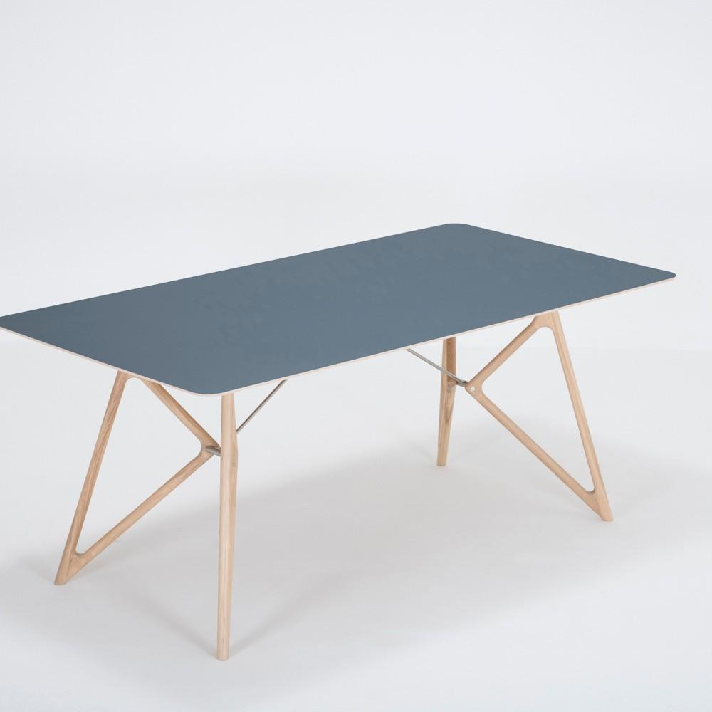 Jedálenský stôl z masívneho dubového dreva s tmavomodrou doskou Gazzda Tink, 180×90cm