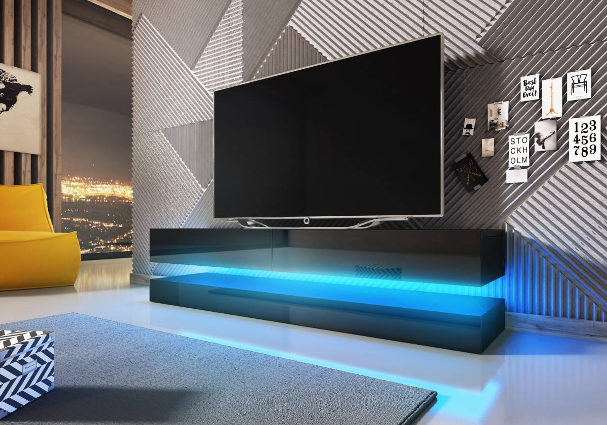 TV stolík Fly (čierny lesk + čierna matná)
