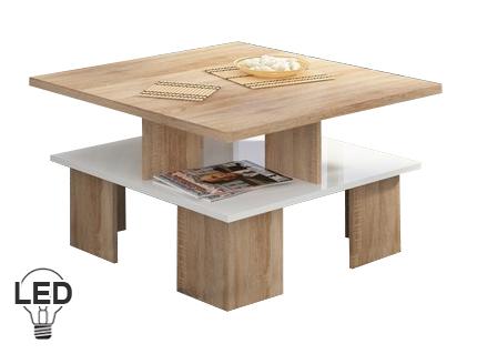 Konferenčný stolík Supra 1 (sonoma svetlá + lesk biely)