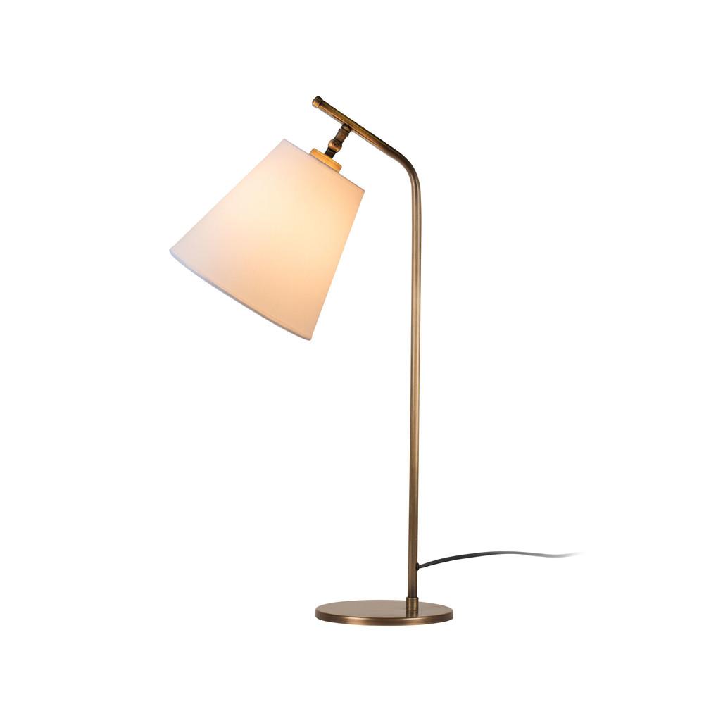 Stolová lampa v zlatej farbe s bielym tienidlom Don