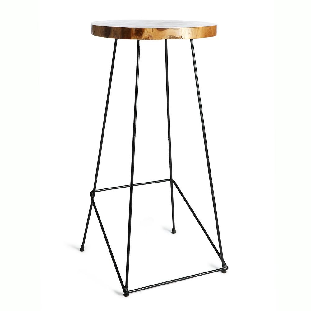 Barová stolička so sedadlom z teakového dreva Simla Bar, výška 110 cm