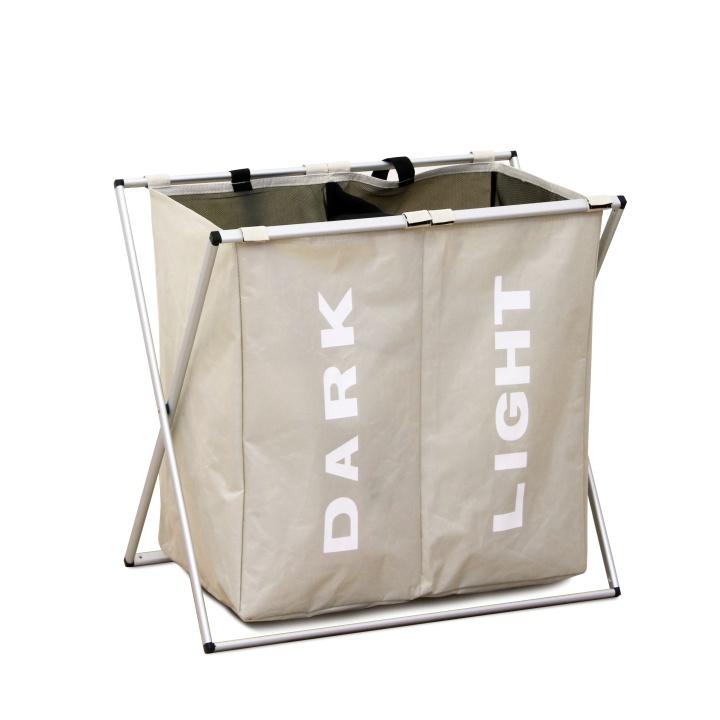 Látkový kôš na prádlo, sivobéžová, LAUNDRY TYP 2