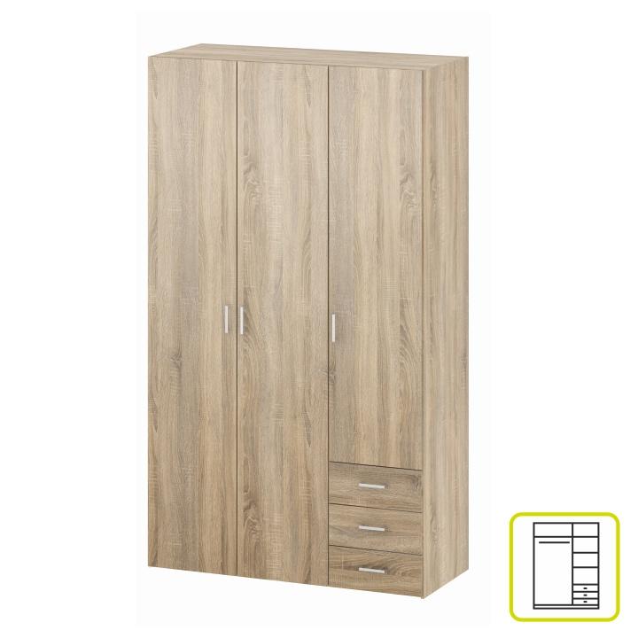 Skriňa, 3 - dverová, dub sonoma, GWEN 70427