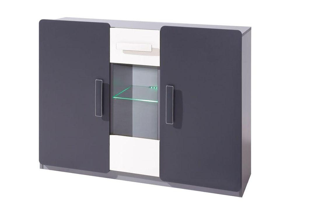 Komoda FIGARO 3D, 91x120x42 cm, grafit/biela, zelené LED