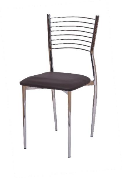Stolička, ekokoža tmavo hnedá/chróm, ZAIRA