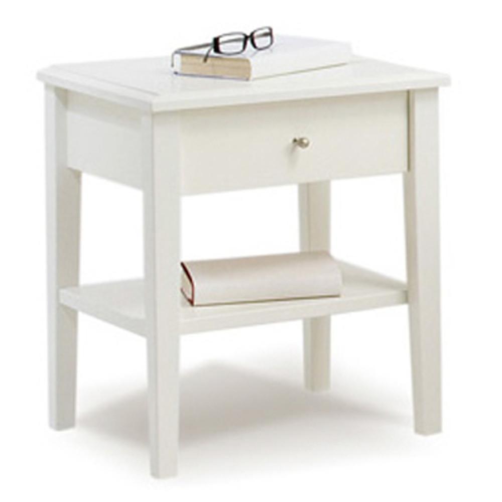 Biely ručne vyrobený nočný stolík z masívneho brezového dreva KiteenAnniina