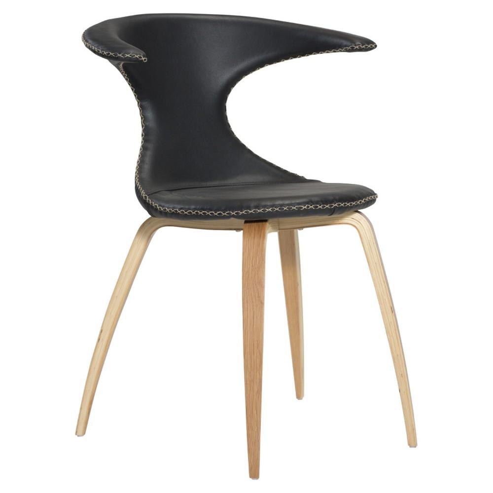 Čierna kožená jedálenská stolička s prírodnou podnožou DAN–FORM Flair