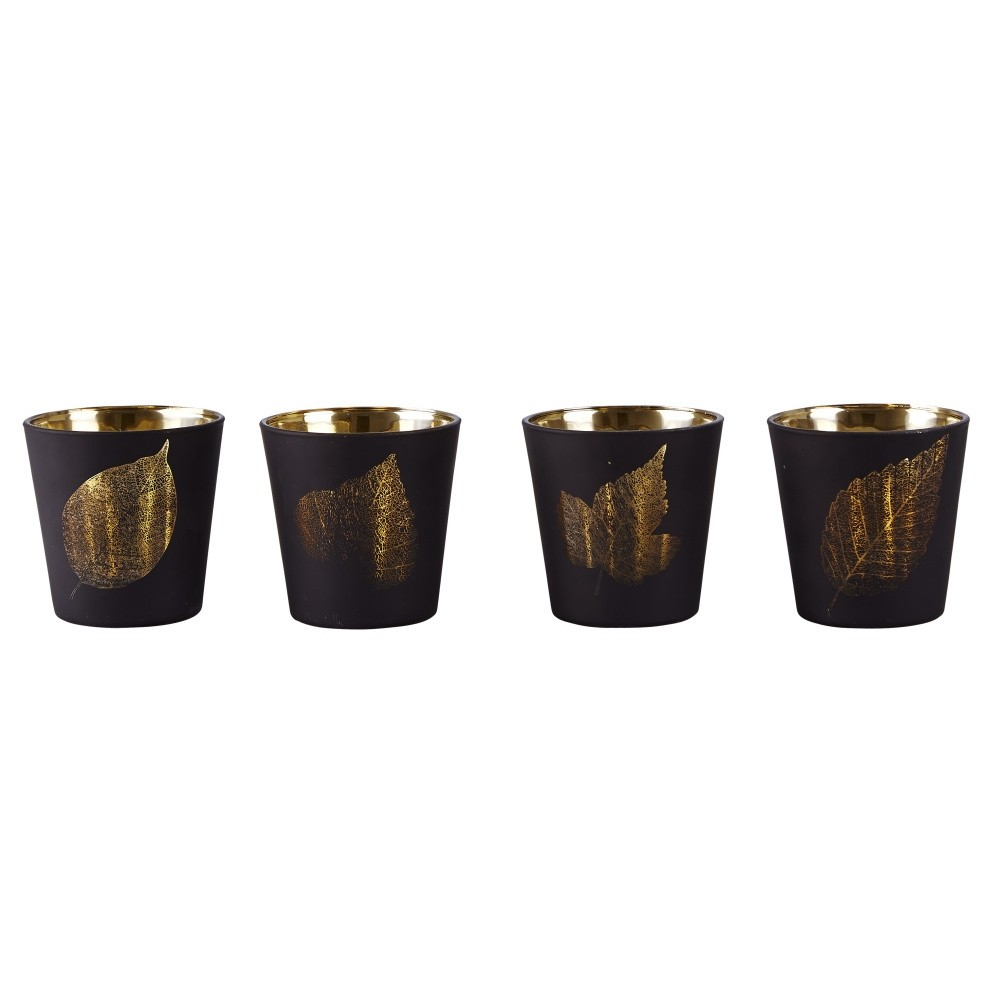 Sada 4 svietnikov KJ Collection Black With Gold