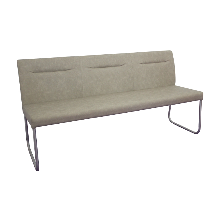 TEMPO KONDELA Dizajnová lavica, sivohnedá ekokoža s efektom brúsenej kože, INDRA typ 1