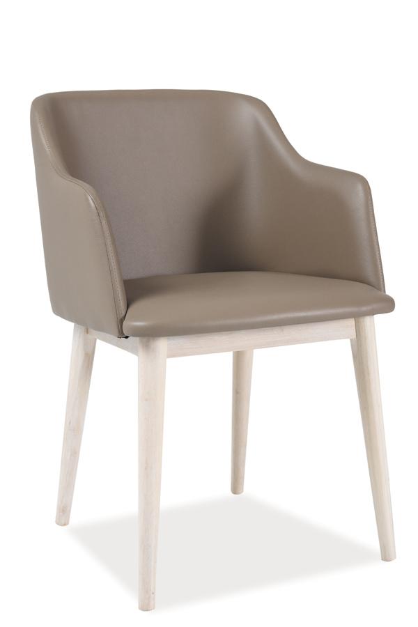 NETIK II jedálenská stolička, dub bielený/béžová