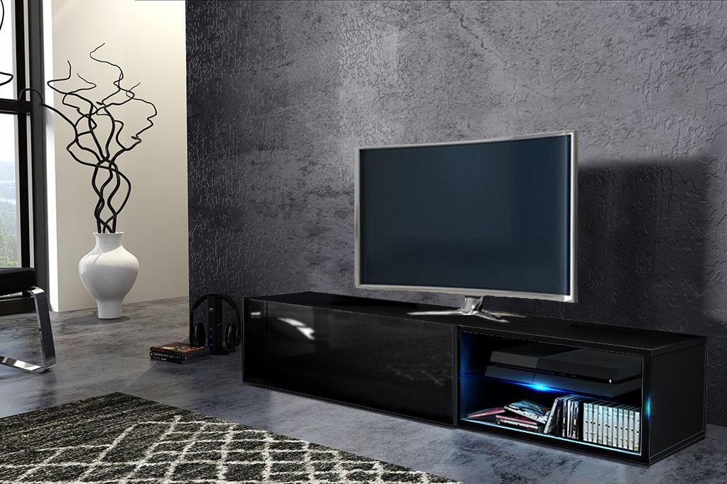 TV stolík/skrinka Best (čierna + lesk čierny)