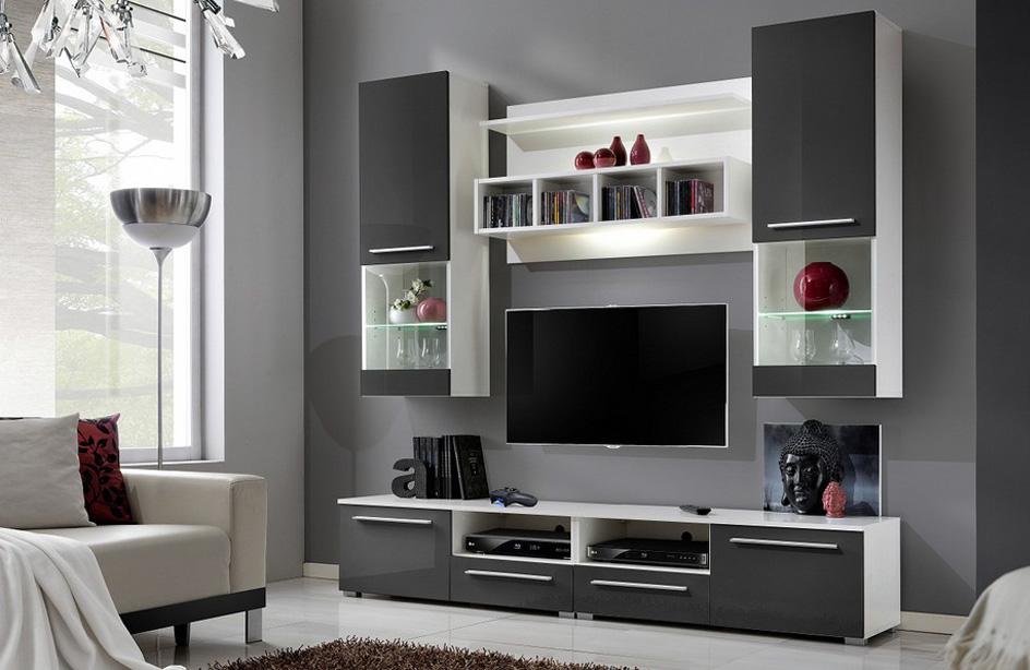 Lesklá obývacia stena VANDA-2020, šedá