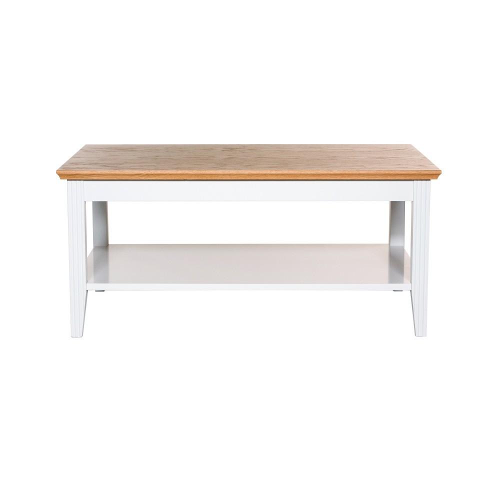 Biely konferenčný stolík s detailmi z dubovej dyhy Wermo Family, 100×65cm