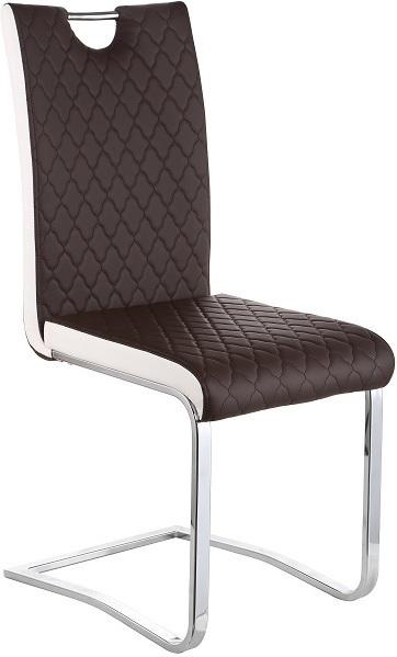 Jedálenská stolička, Chróm/Ekokoža, Hnedá/Biela, IMANE