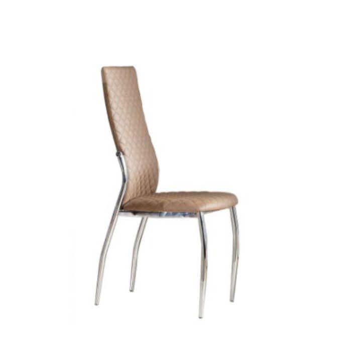 Stolička, ekokoža béžová/chróm, MALISA