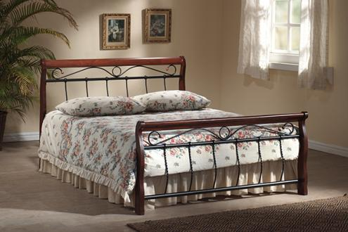 BENÁTKY posteľ 160x200 cm, antická čerešňa/čierna