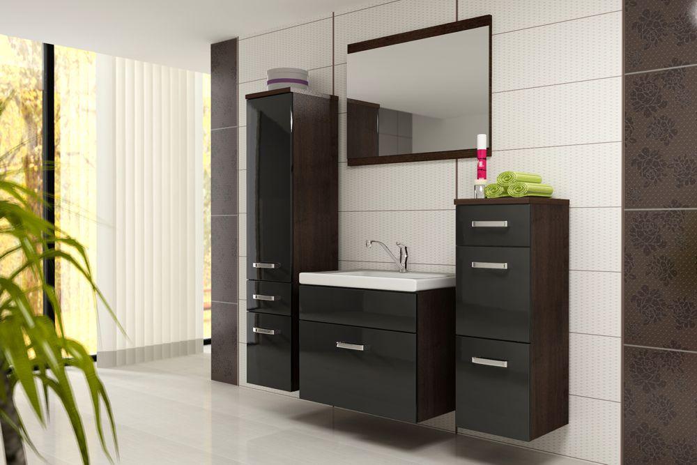 EVOE WB01 kúpeľňová zostava, wenge/čierny lesk
