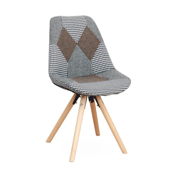 Dizajnová stolička, vzorovaná látka, PEPITO TYP 10