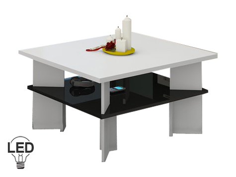Konferenčný stolík Vectra 1 (biela + lesk čierny)