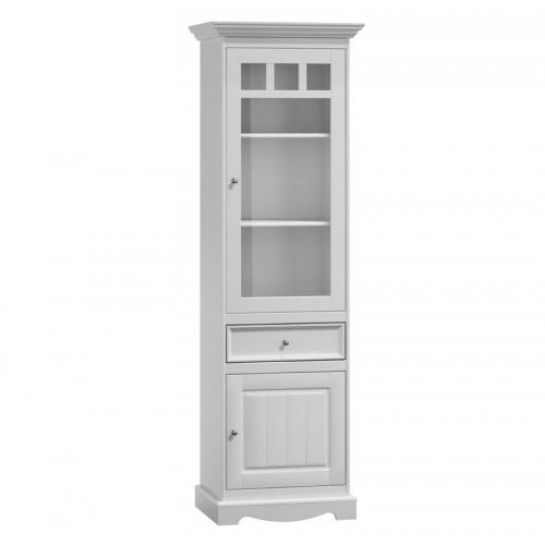 Biely nábytok Belluno Elegante, úzka drevená vitrína z masívu, biela