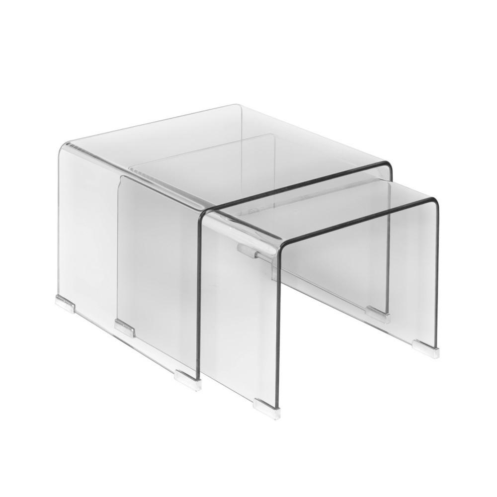 Sada 3 sklenených odkladacích stolíkov Esidra Jaime