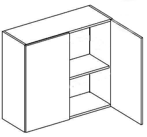 W80 horná skrinka dvojdverová MYA, picard/biely lesk