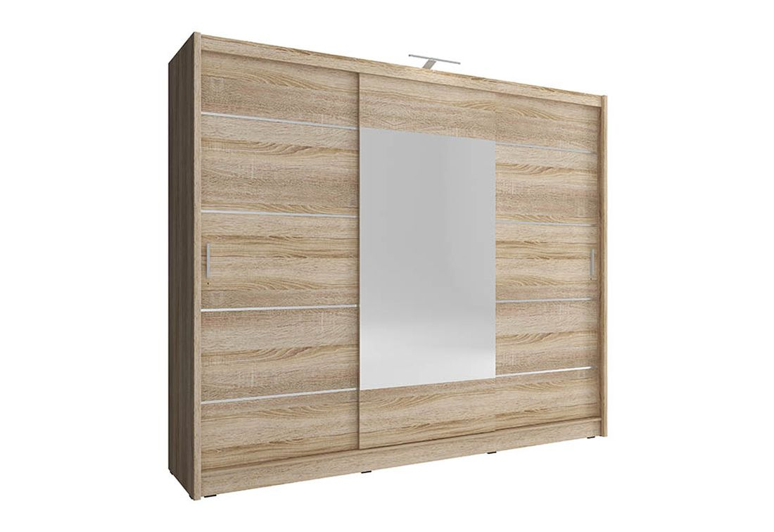 Šatníková skriňa WHITNEY 250 ALU, 62x214x250 cm, dub sonoma