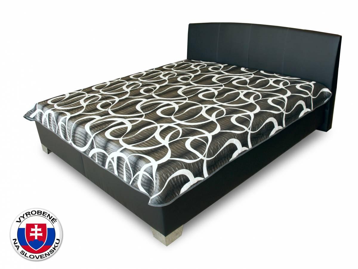Manželská posteľ 180 cm Benab Tamira (čierna) (s roštami, matracmi Zero a prehozom)