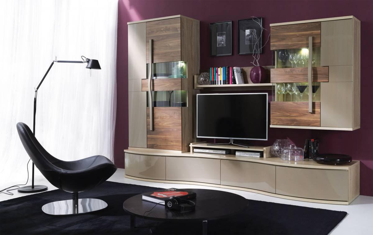 Dizajnová obývacia stena HANELL A, sonoma/saleve
