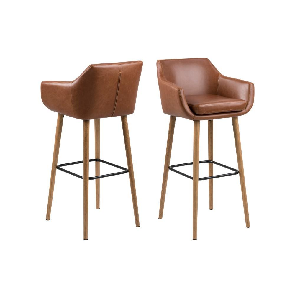 8b80954be23e Sada 2 hnedých barových stoličiek Actona Nora