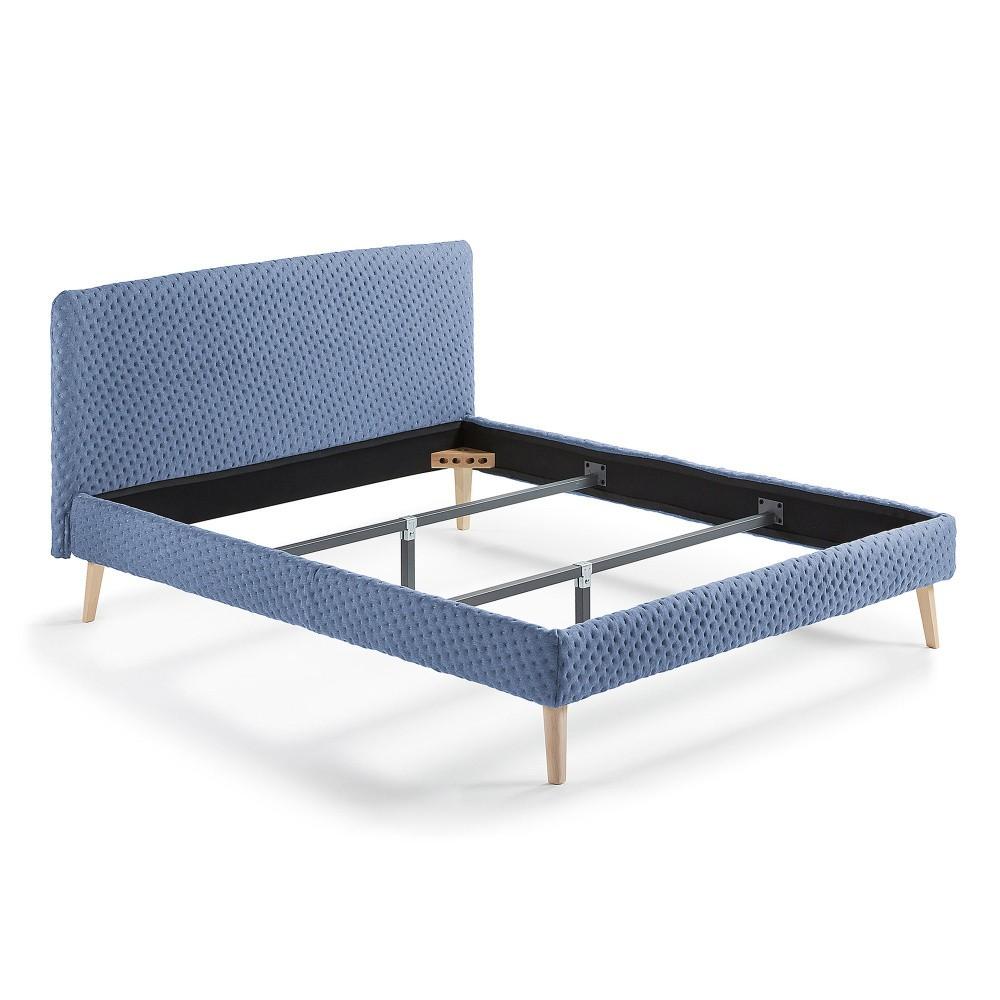 Modrá dvojlôžková čalúnená posteľ La Forma Lydia Dotted, 200×160cm