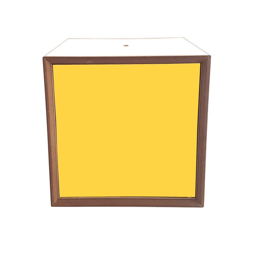 Policový diel s bielym rámoma žltými dvierkami Ragaba PIXEL, 40 x 40 cm