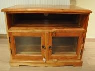 Furniture nábytok  Masívny TV stolík s 1 presklenou skrinkou a nastaviteľnou otáčacou doskou  z Palisanderu  Šankar  80x50x60 cm