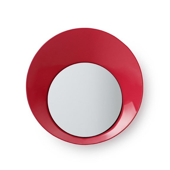 Normann Copenhagen Vešiak Ready Hook so zrkadielkom 20 cm, červený