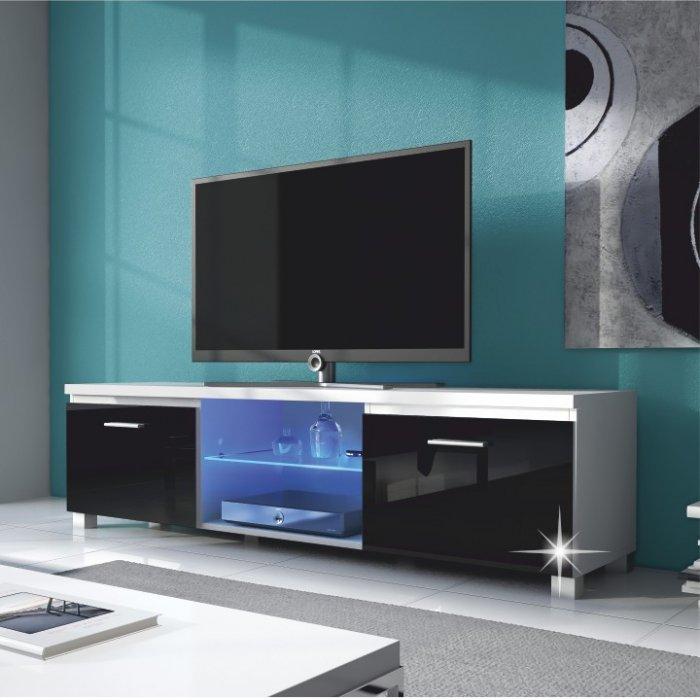 TEMPO KONDELA LUGO 2 TV stolík - biela / čierny vysoký lesk