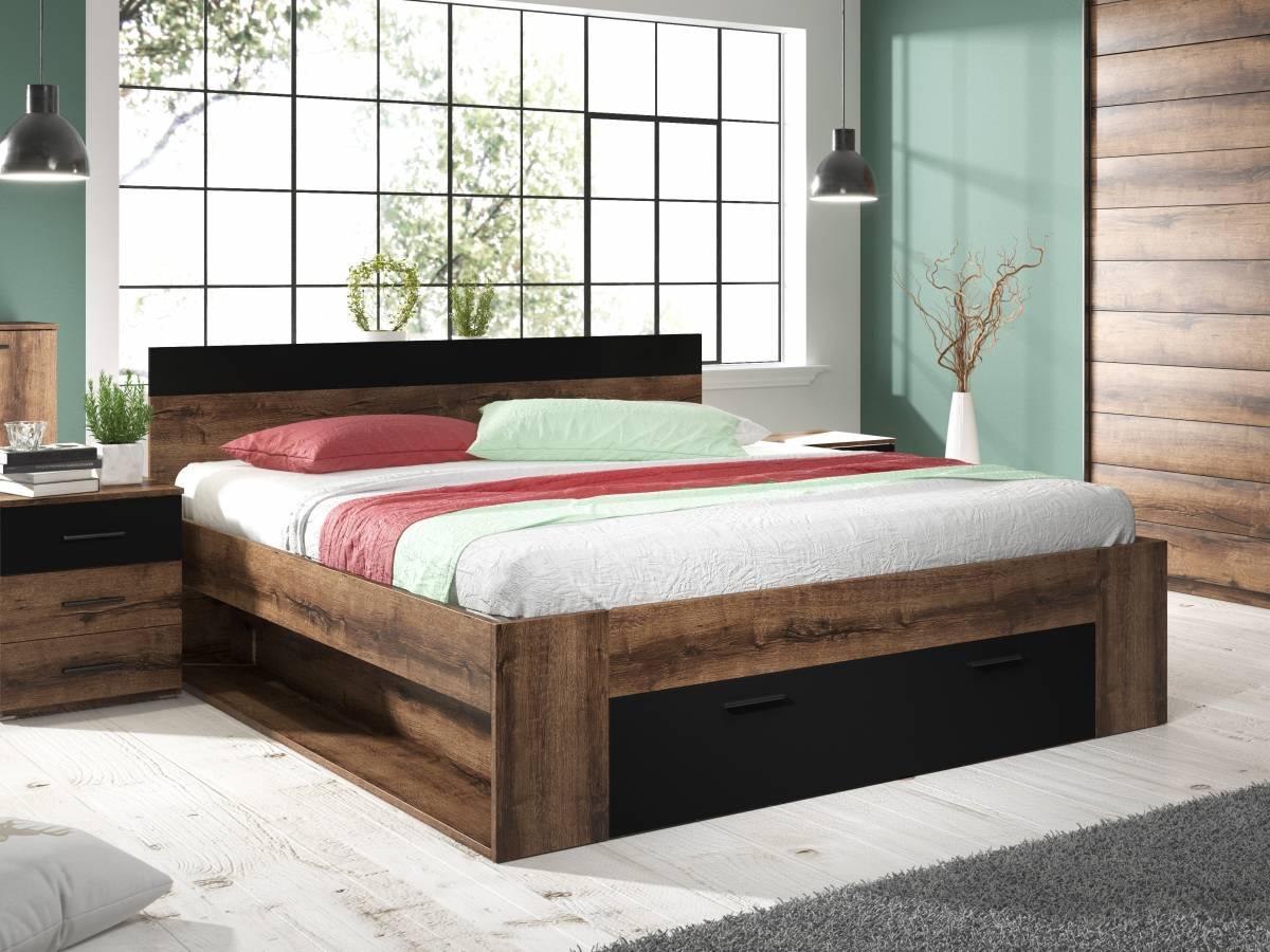 Manželská posteľ 180 cm Typ 92 (dub monastery + čierna)