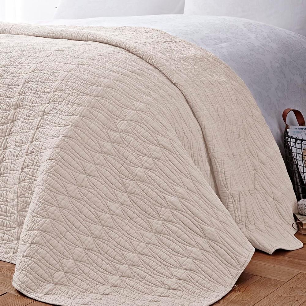 Krémová prikrývka cez posteľ Bianca Simplicity, 200 x 200 cm