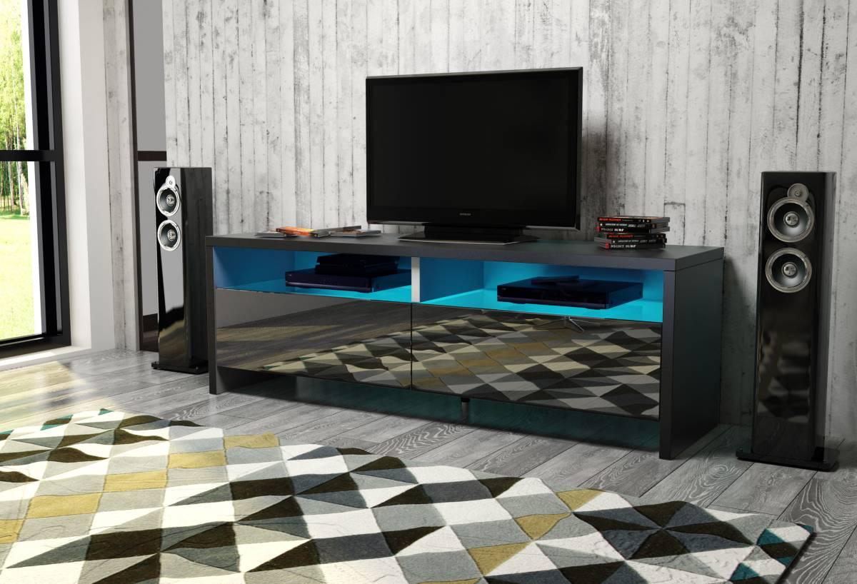 TV stolík/skrinka Caracas (čierna + lesk čierny)